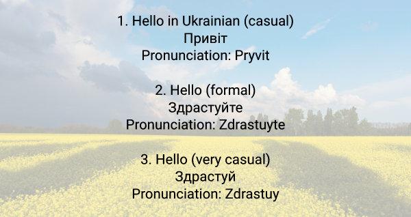 say hello in ukrainian
