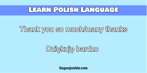 how to say thank you very much in polish