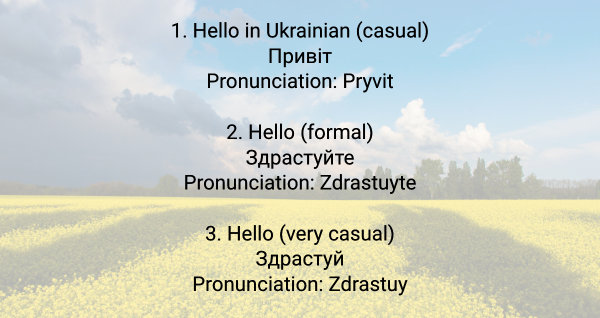 say hello in ukrainian